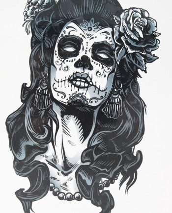 tatouage-ephemere-gangster-tete-femme-mexicaine-muerte